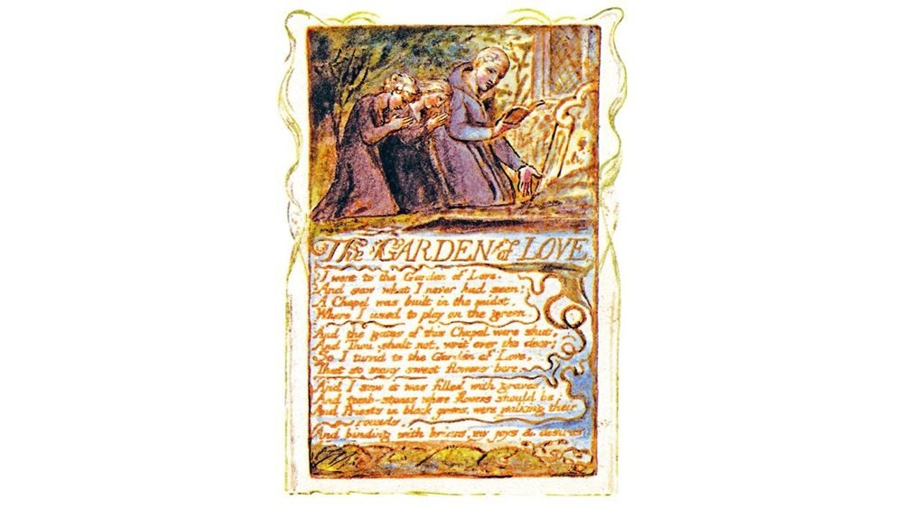Written copy of The Garden of Love with illustration of figures praying above